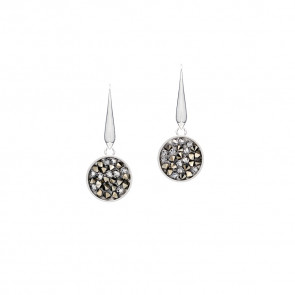 Swarovski® kristályos nemesacél fülbevaló - Crystal Rock Collection Small Silver Night